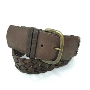 "J. Crew leather braided belt 2"" wide Sz M brown"